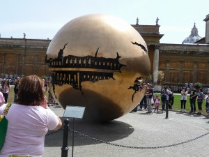 The bronze ball rotates