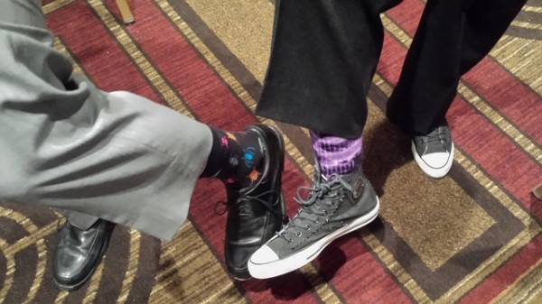 Dave and David Hartwell contrasting socks