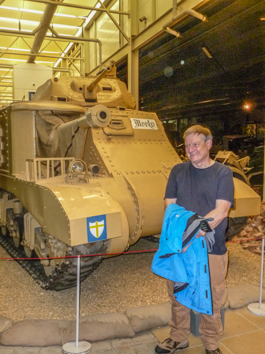 John Lambshead in front of General Montgomery's command vehicle, a converted M3 Grant tank